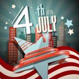 4 Retro Vectorillustratie van Juli met Vlag Royalty-vrije Stock Afbeeldingen