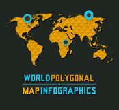 Retro veelhoekige wereldkaart Royalty-vrije Stock Foto