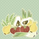Retro vegetable illustration on polka dots on blue Royalty Free Stock Photography