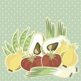 Retro vegetable illustration on polka dots on blue Royalty Free Stock Photography