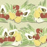 Retro vegetables on polka dots horizontal pattern Stock Image