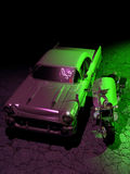 Retro vehicles. Exterior night scene. Close to a green light and a mallow neon sign, a chevrolet bel-air and a motorcycle Royalty Free Stock Photography