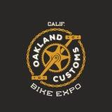 Retro- Vektor-Fahrrad-kundenspezifische Show-Ausstellungs-Aufkleber oder Logo Stockfoto