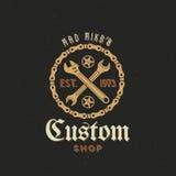 Retro- Vektor-Fahrrad-kundenspezifischer Shop-Aufkleber oder Logo Stockfotografie