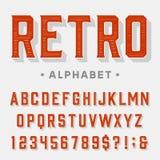 Retro- Vektor-Guss Buchstaben, Zahlen und Symbole Lizenzfreies Stockfoto