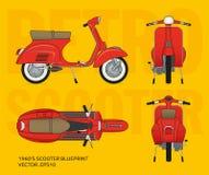 Retro- Vektor Vespa-Rollerplan Stockfotos