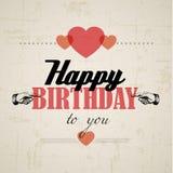 Retro vektorillustration för lycklig födelsedag Royaltyfri Bild