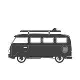 Retro vektorillustration för sommar - buss med bränningbrädet Arkivbilder