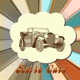Retro- Vektorkarte mit Auto und mehrfarbigem abgestreiftem Hintergrund Lizenzfreies Stockfoto