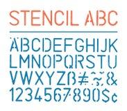 Retro- Vektorschmutzschablonenalphabet und -zahlen auf weißem Hintergrund Stockbild