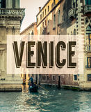 Retro Venice Grand Canal Poster. A Retro Style Poster For Venice Italy With A Gondola In The Grand Canal Royalty Free Stock Photography