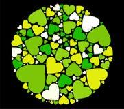 Retro verde di disegno del cuore illustrazione di stock