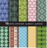 10 Retro verschillende vector naadloos Stock Fotografie
