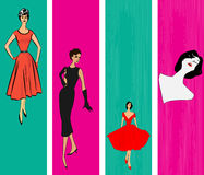 Retro Vertical Web Banner Templates. 1950's Style Retro Message Vertical Banners with a stylish ladies royalty free illustration