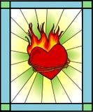 Retro vetro tained - cuore su fuoco illustrazione di stock