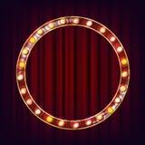 Retro vettore del tabellone per le affissioni Bordo leggero brillante del segno Struttura realistica della lampada di lustro Elem illustrazione di stock