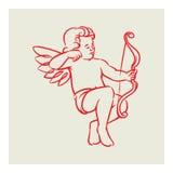 Retro vettore di angelo del cupido Fotografia Stock Libera da Diritti