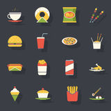 Retro vettore piano delle icone degli alimenti a rapida preparazione e dell'insieme di simboli Fotografia Stock