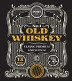 Retro victorian whiskey vector label. Template emblem for bottle of alcohol beverage illustration Stock Image