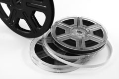 Retro Video. Film reels with film. Useful for movie or cinema backdrop or background poster stock images