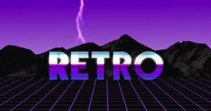 Retro video animazione d'annata 80s nello sguardo porpora con fulmine archivi video
