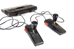 Retro video game console and controllers Royalty Free Stock Photo