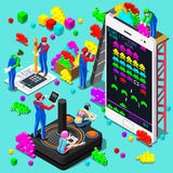 Retro Video Game Gaming Isometric People Vector Illustration. Retro Video game screen and gamer person playing online with console controller android phone or royalty free illustration