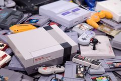 Retro Video Game Systems and Cartridges royalty free stock photo