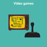 Retro video game. Retro video tanks game with tv and handle joystick Stock Image