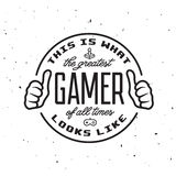 Retro video games related t-shirt design. Greatest gamer text. Vector vintage illustration. Stock Image