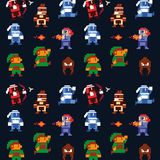 Retro videogame  arcade characters collection background stock illustration