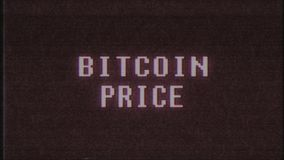 Retro videogame BITCOIN PRICE text computer old tv glitch interference noise screen animation seamless loop New quality. Retro videogame text on old tv stock footage