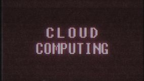 Retro videogame CLOUD COMPUTING word text computer tv glitch interference noise screen animation seamless loop New vector illustration