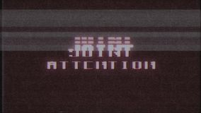 Retro videogame JOINT ATTENTION text computer old tv glitch interference noise screen animation seamless loop New. Retro videogame text on old tv interference stock footage