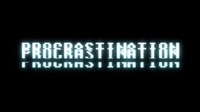 Retro videogame PROCRASTINATION text computer old tv glitch interference noise screen animation seamless loop New. Retro videogame text on old tv interference stock video footage