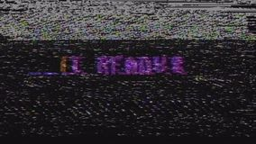 Retro videogame get ready text on old tv glitch interference screen ... New quality universal vintage motion dynamic stock video footage