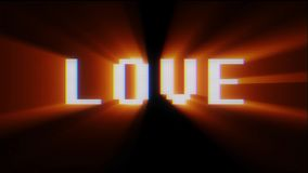 Retro digital font love word text on old tv lcd glitch interference screen animation seamless loop .. New quality. Retro videogame text on old tv interference royalty free illustration