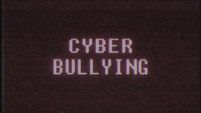 Retro videogame Cyber Bullying word text computer old tv glitch interference noise screen animation seamless loop New. Retro videogame text on old tv stock video footage