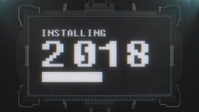 Retro videogioco che installa testo 2018 sul ciclo senza cuciture della TV di impulso errato di interferenza di animazione futuri royalty illustrazione gratis