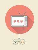 Retro videospel på tv med kontrollanten Arkivfoto