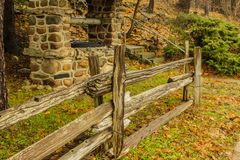 Retro view of the fence and the well in the park. autumn landscape. Beautiful country site seeing royalty free stock images