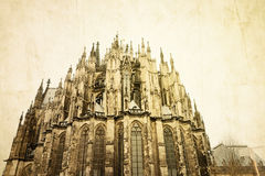 Retro view of Gothic Cathedral in Cologne Royalty Free Stock Photos