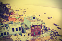 Retro view of Varanasi at Ganga River. Royalty Free Stock Images