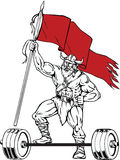 Retro Viking Warrior Barbell Waving Flag Stock Afbeelding