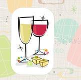 Retro vino e formaggio (vettore) Fotografia Stock