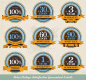 Retro vintage 100% satisfaction guaranteed. Labels Royalty Free Stock Photography
