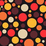Retro vintage abstract seamless background hot bright colors. Retro vintage abstract seamless background, circles on black background, dotted, bubbles, warm Vector Illustration