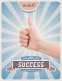 Retro style poster of guaranteed success. Retro or vintage advertising poster with hand giving a thumbs up gesture promising of best service, satisfaction Royalty Free Stock Photos