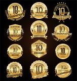 Retro vintage anniversary golden badges and labels collection royalty free illustration