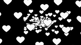 A retro vintage atmosphere flourishing with hearts under a black background - animation stock video